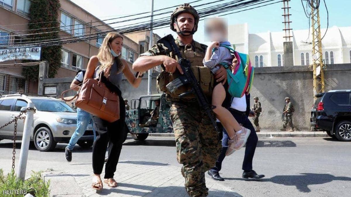 رعب ألأطفال في بيروت بسبب أحداث بيروت